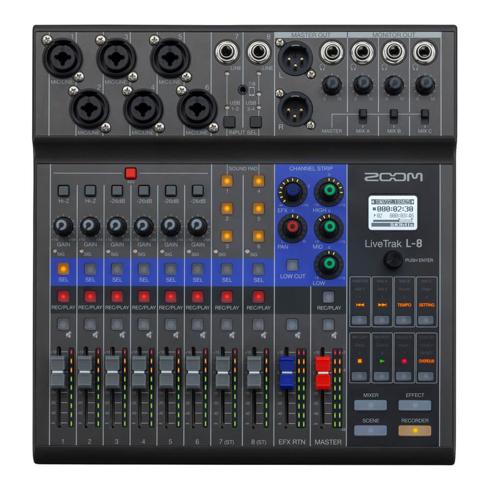 ポッドキャスト番組の収録やライブ演奏のミキシングが手軽に行える モデル着用 注目アイテム 8チャンネルのライブミキサー レコーダー ZOOM ズーム LiveTrak Mixer + 送料無料 Recorder 公式 Digital L-8