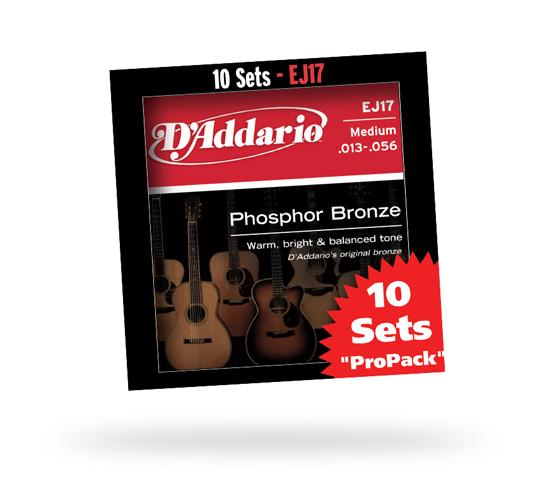 D'Addario EJ17-10P Medium 013-056 Phosphor Bronze Multi-Packs 【10セットパック】