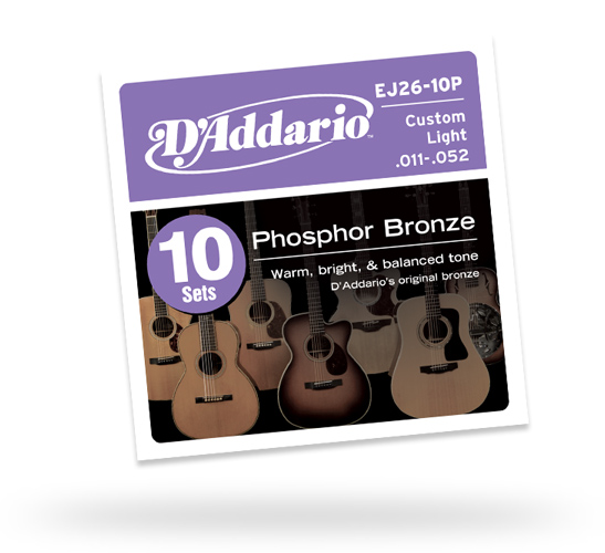 D'Addario EJ26-10P C.Light 011-052 Phosphor Bronze Multi-Packs 【10セットパック】