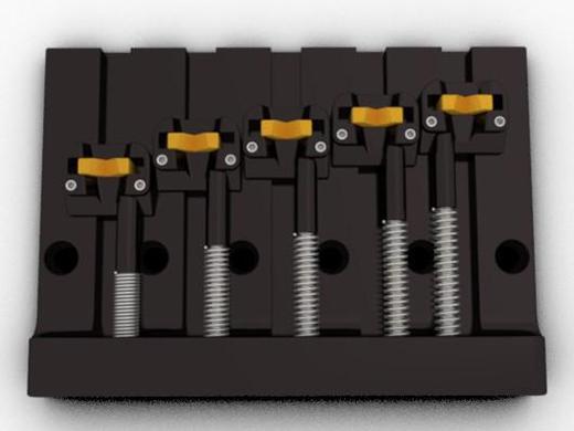 ベース パーツ Hipshot 5 String KickAss™ Bass Bridge Black