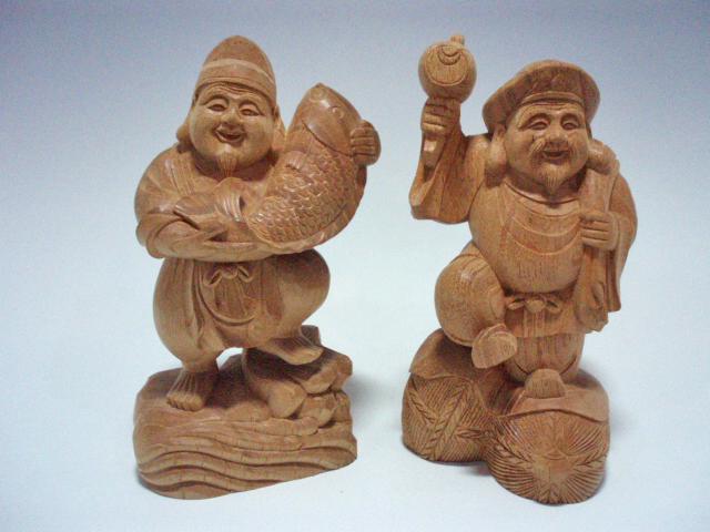 木彫り・・・欅 踊り恵比寿・大黒15cm (A-5)