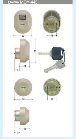 MIWA DRZZ1004 シリンダー (MCY-443)トステムQDC-17,QDC-19