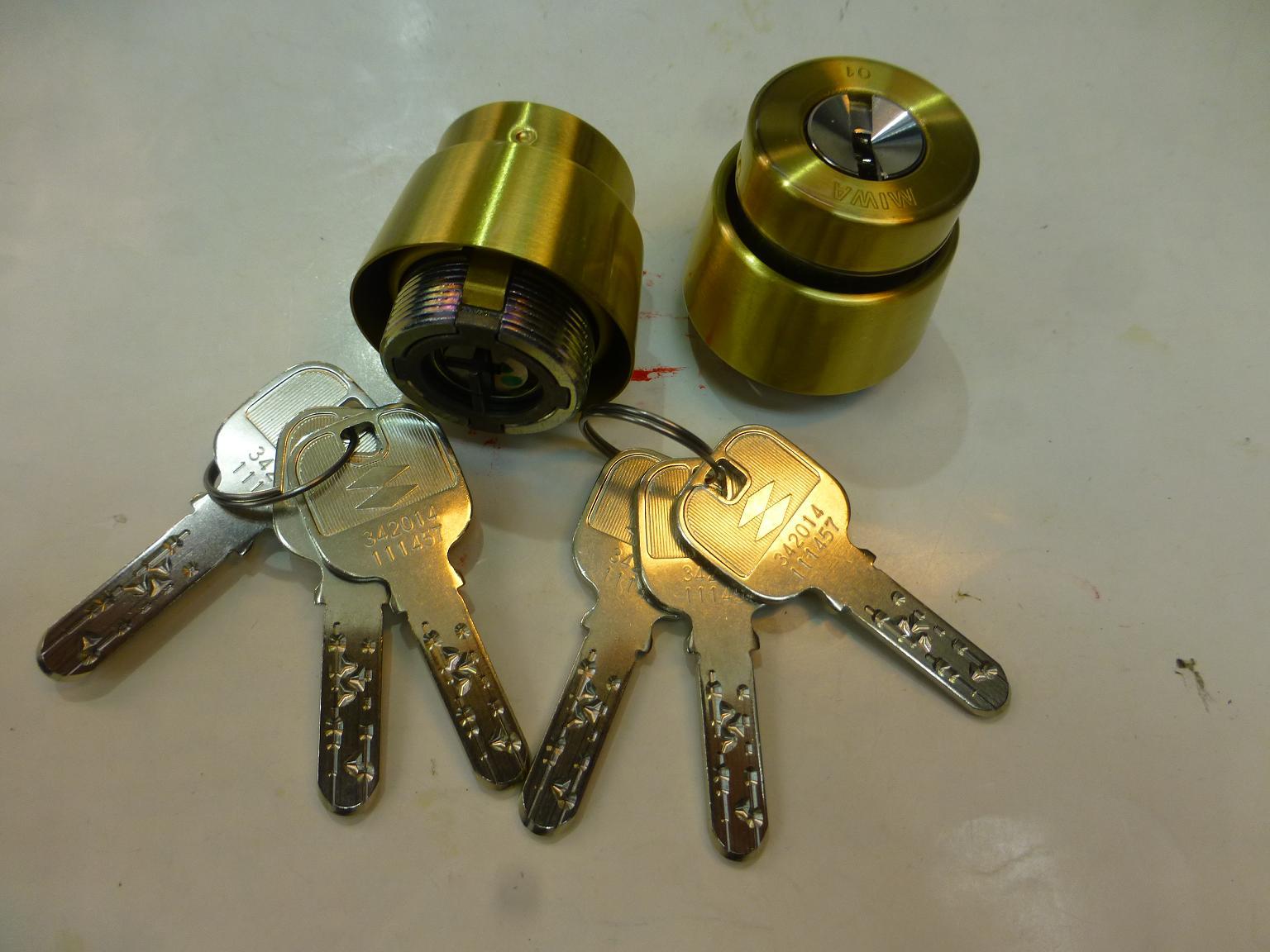 MIWA JN,BHシリンダー(MCY-244-1)BSゴールド