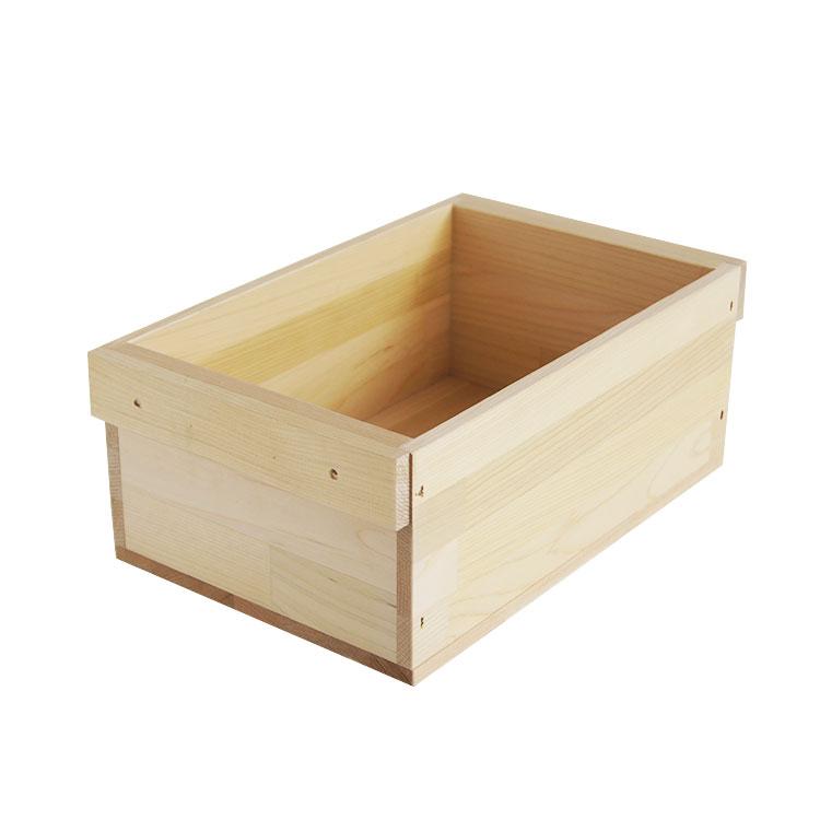 国産木材の木箱木のはこ屋 木箱 返品送料無料 HA1.5KT 取手付 単品 青森ひば集成材 整理整頓 収納 新発売 無塗装 カンナ仕上げ おもちゃ箱 りんご箱