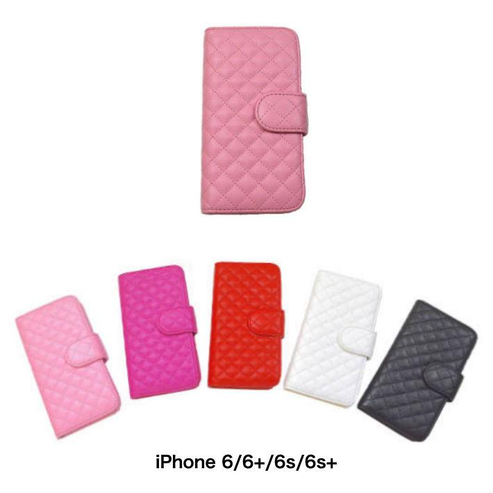 商舗 送料無料 スマホケース 手帳タイプ ソフトタッチ 5色から選択 レザー風キルト スマーフォン スマートフォンアクセサリー 6Plus スマートフォンケース 6 iPhone 6s 6sPlus SALE開催中 DM便