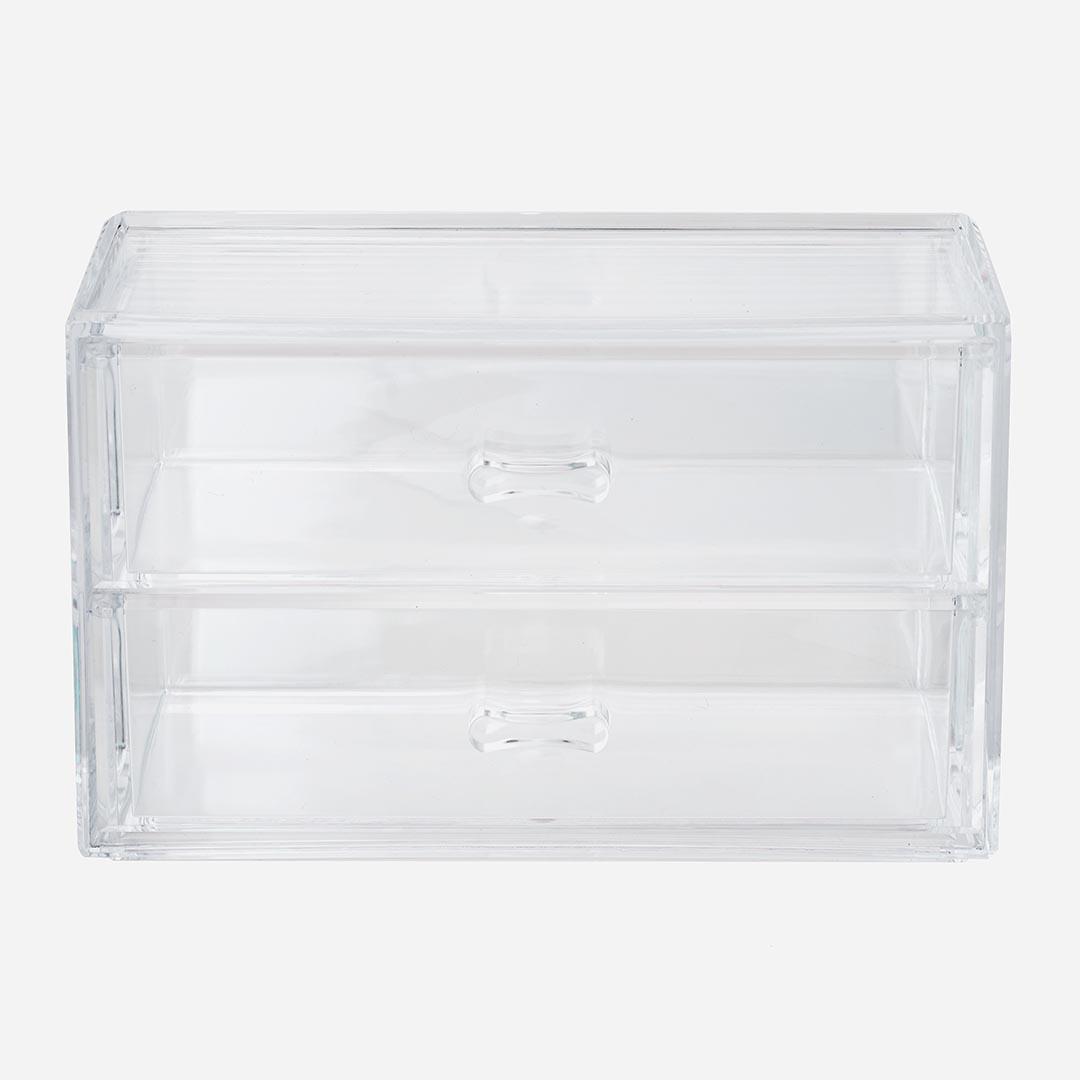 メガネやサングラスに、見せる卓上収納 【KEYUCA公式店】ケユカ Tranpi クリア引き出し2段|おしゃれ 収納ボックス シンプル 2段 時計 ギフト かわいい 収納ケース 引き出し プレゼント クリアケース 透明 オシャレ アクセサリー 新生活 小物 収納 デスク周り アクセサリーケース 机 クリアボックス ディスプレイ