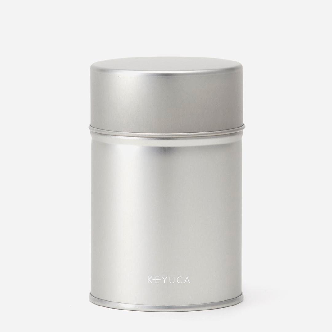 茶葉のストックに便利な中蓋つきの茶筒 KEYUCA ケユカ 生地茶筒 100g 茶筒 かわいい 保存容器 紅茶 シルバー スチール 小さいサイズ 中蓋付き 中フタ付き 収納 グッドプライス 密閉 キッチン用品 輸入 期間限定今なら送料無料 キッチン雑貨