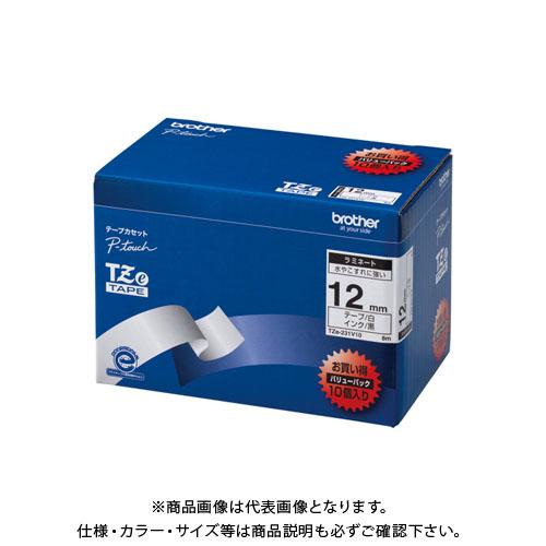 ブラザー販売 ピータッチテープ12mm白/黒10個入 TZE-231V10