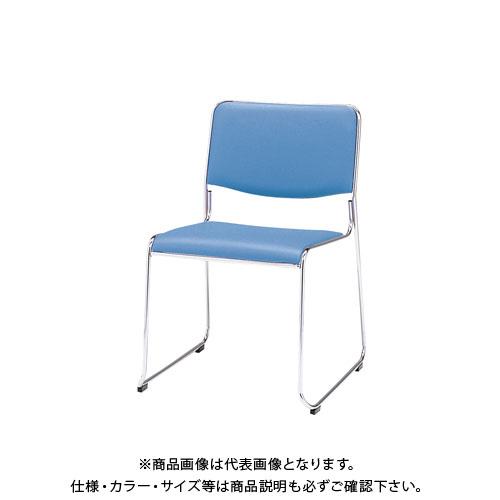 弘益 スタッキングチェア(合成皮革張) ブルー MK-480(BL)