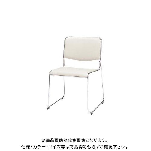 弘益 スタッキングチェア(合成皮革張)ホワイト MK-480(WH)