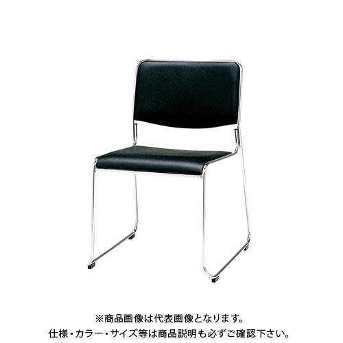 弘益 スタッキングチェア(合成皮革張)ブラック MK-480(BK)