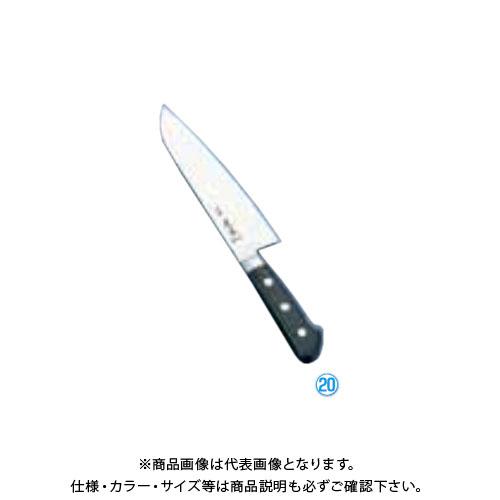 TKG 遠藤商事 正本ハイパーモリブデン鋼ツバ付文化包丁 (両刃)18cm AMSJ101 7-0292-1901