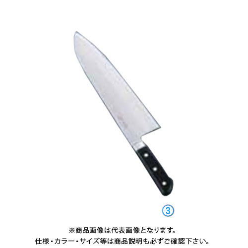 TKG 遠藤商事 堺菊守日本鋼(口金付)巾広厚口牛刀 33cm AKK9003 7-0296-0303