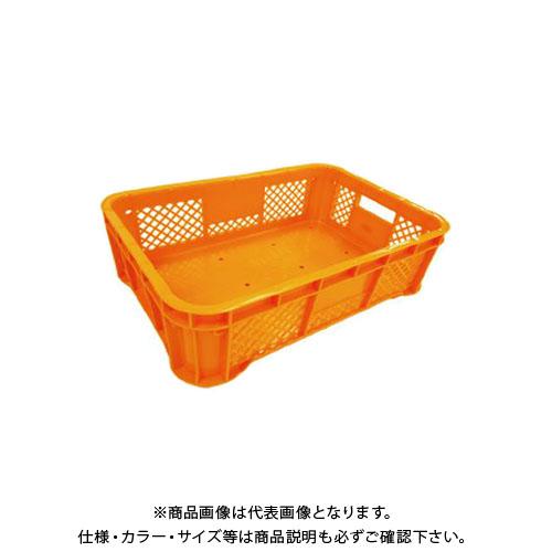 【直送品】安全興業 ハーフコンテナ 平底 オレンジ 520×365×158mm (10入)