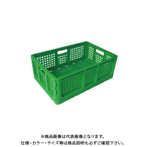 【直送品】安全興業 折りたたみコンテナ 緑 550×370×200mm (10入)