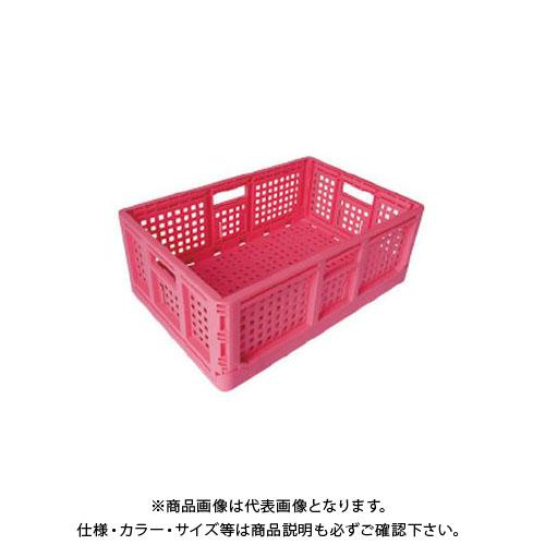 【直送品】安全興業 折りたたみコンテナ ピンク 550×370×200mm (10入)