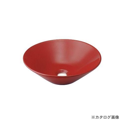 カクダイ KAKUDAI 丸型手洗器//鉄赤 493-037-R