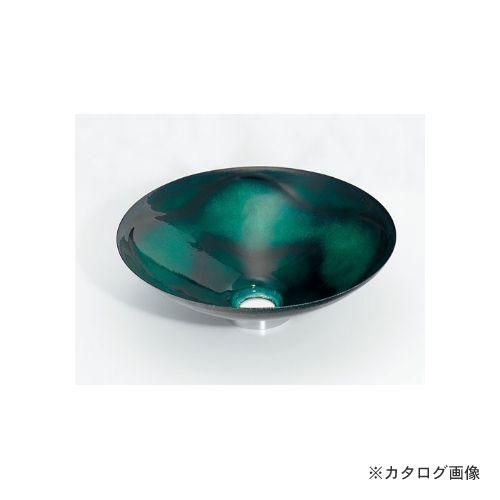 カクダイ KAKUDAI 丸型手洗器//緑透 493-047-GR