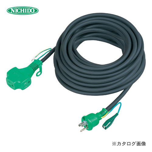 日動工業 トリプルポッキン アース付 極太ソフト電線延長コード30m 黒色 PPT-30E