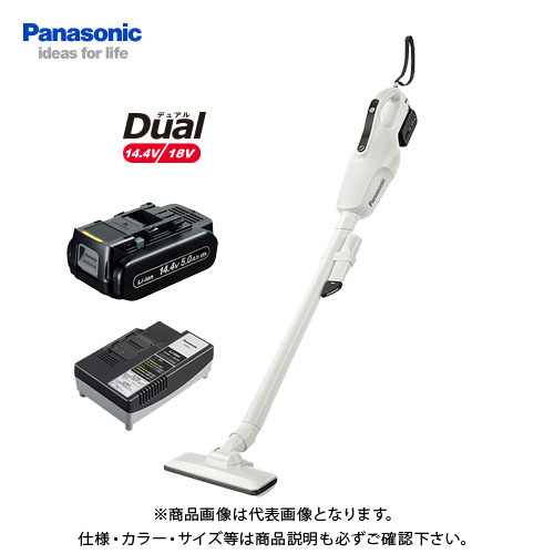 パナソニック Panasonic 工事用 充電コードレスクリーナー ホワイト Dual 14.4V (5.0Ah電池1個付) EZ37A3LJ1F-W