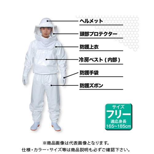 日本緑十字 蜂防護服 ラプター3(手袋セット) 375440