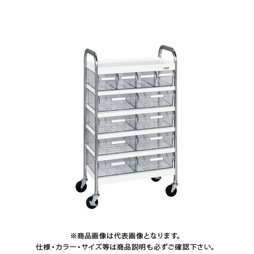 【直送品】サカエ CSワゴン透明ボックス付 CSB-48T