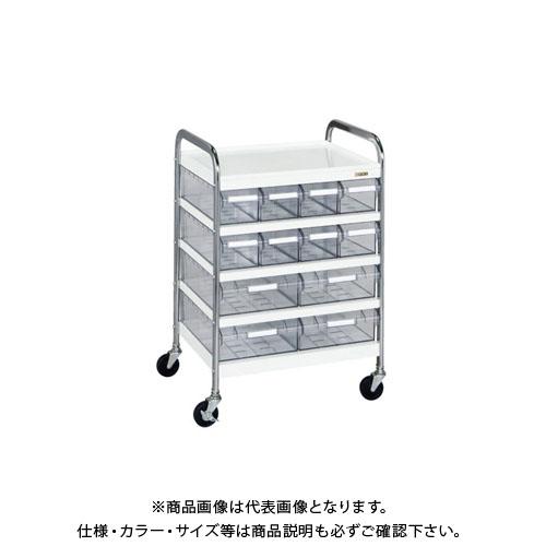 【直送品】サカエ CSワゴン透明ボックス付 CSC-84T