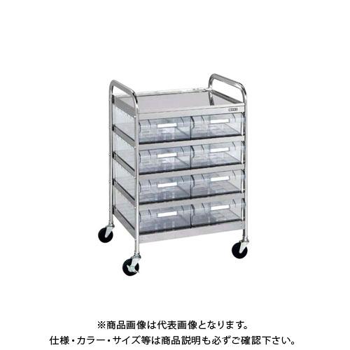 【直送品】サカエ CSワゴン透明ボックス付 CSC-8RSU