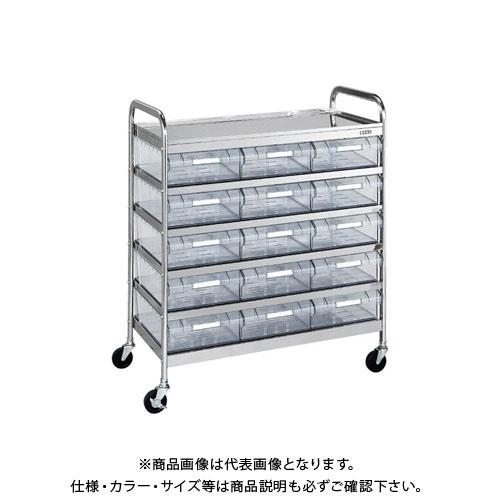 【直送品】サカエ CSワゴン透明ボックス付 CSG-15RSU