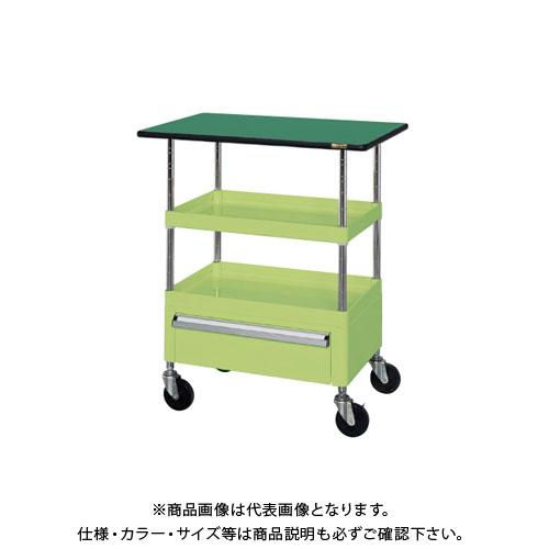 【直送品】サカエ ニューCSパールワゴン(ゴム車・天板付・下引出し付) CSPA-608CT