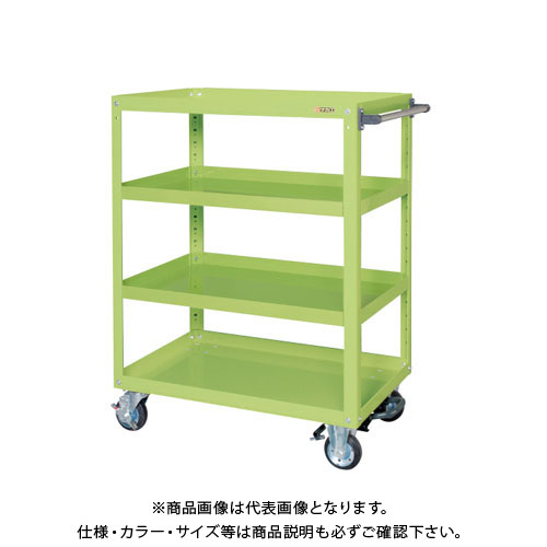 【直送品】サカエ スーパーワゴン(ゴム車・フットブレーキ付) EGR-200LBR