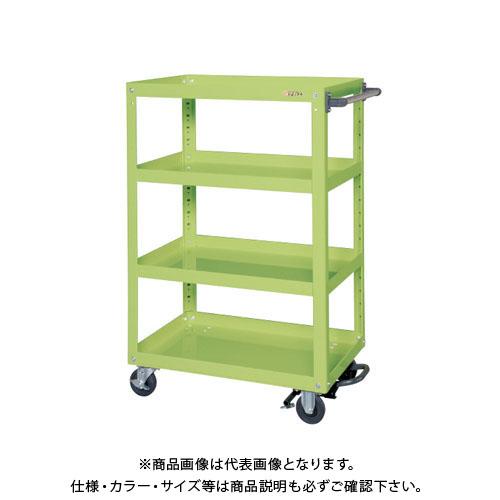 【直送品】サカエ スーパーワゴン(ゴム車・フットブレーキ付) EKR-200LBR