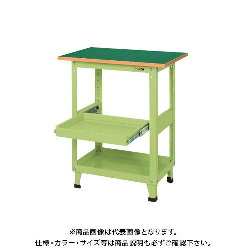 【直送品】サカエ スーパーワゴン(固定タイプ・天板・スライド棚付) KMN-150TS