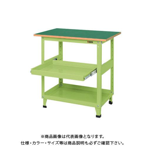 【直送品】サカエ スーパーワゴン(固定タイプ・天板・スライド棚付) KN-200TS