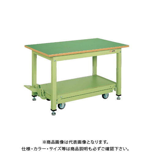 【直送品】サカエ 中量作業台KTタイプ・ペダル昇降移動式 KT-157F