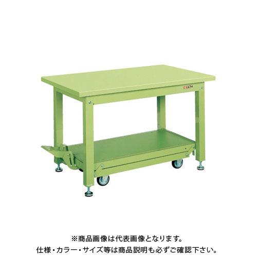 【直送品】サカエ 重量作業台KWCタイプ・ペダル昇降移動式 KWCS-158