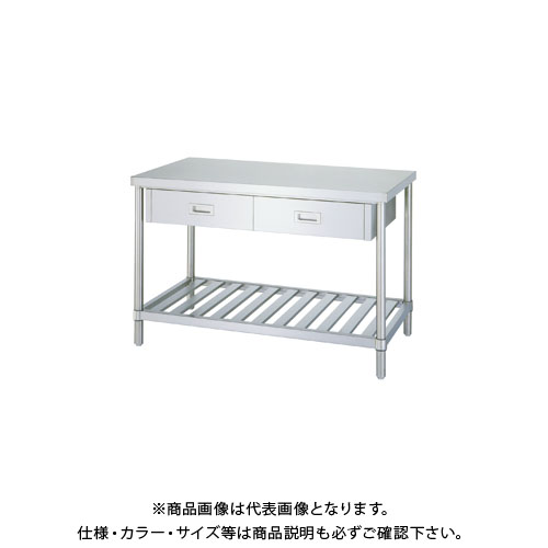 【直送品】【受注生産】シンコー ステンレス作業台(引出付/スノコ棚仕様) 900×900×800 WDSN-9090