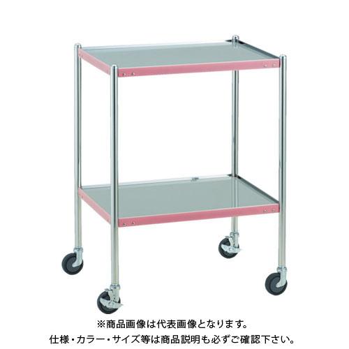 【直送品】 TRUSCO 抗菌SUSカラーラインワゴン 600X450 ピンク KSCLW-1B-P