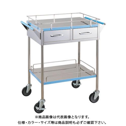 【直送品】 TRUSCO 抗菌SUSカラーラインワゴン 引出付 750X450 ブルー KSCLW-3B-B