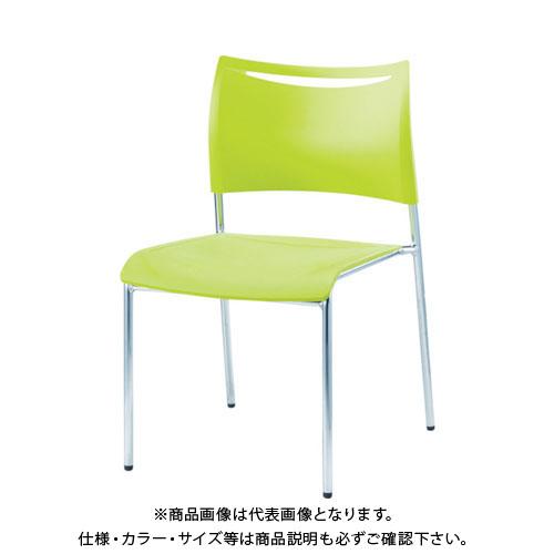 【運賃見積り】【直送品】 アイリスチトセ ミーティングチェアLTS グリーン 背・座樹脂 LTS-4MZ-GN