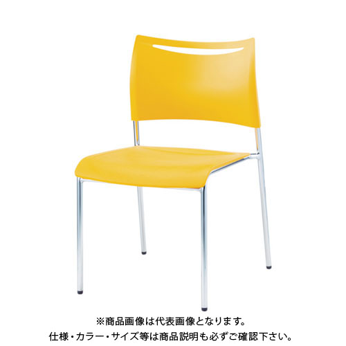 【運賃見積り】【直送品】 アイリスチトセ ミーティングチェアLTS オレンジ 背・座樹脂 LTS-4MZ-OG