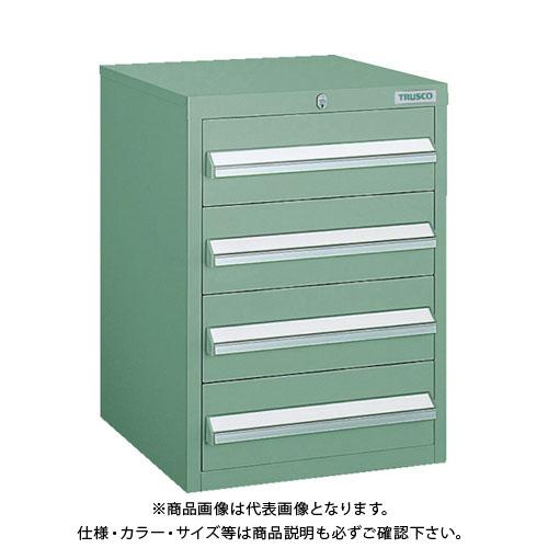 【個別送料1000円】【直送品】 TRUSCO LVR型キャビネット 392X412XH540 引出4段 緑 LVR-542:GN