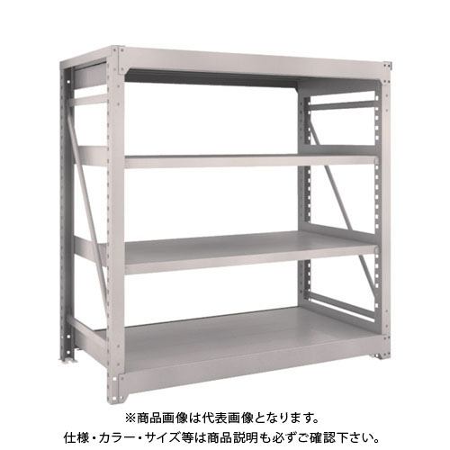 【運賃見積り】【直送品】 TRUSCO M10型重量棚 1500X760XH1500 4段 単体 ネオグレー M10-5574:NG