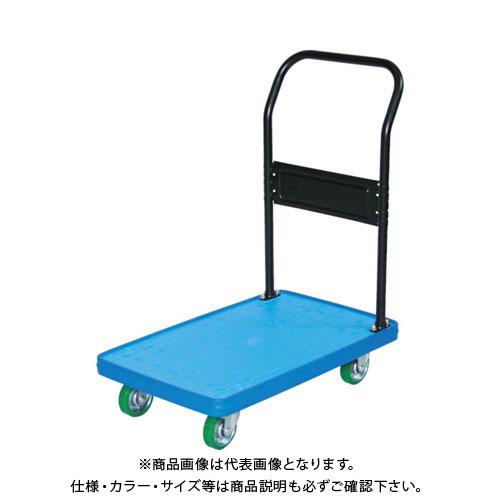 【直送品】TRUSCO MKP樹脂製台車 固定式 716X436 ウレタン ブルー MKP-158U-B