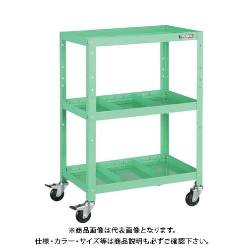 運賃見積り 直送品 TRUSCO ラビットワゴン 500X500 仕切2段付 ゴム車輪 ヤ ン グ グ リ ー ン RBW-953S2 YG
