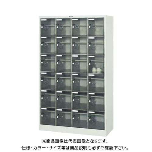 【個別送料2000円】【直送品】 TRUSCO シューズケース 24人用 1050X380XH1700 棚付 透明 SC-24WPC