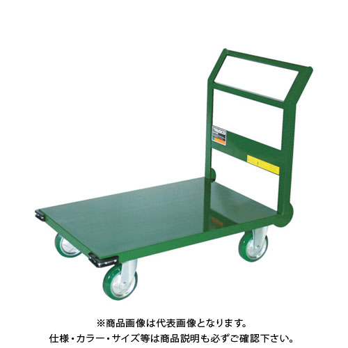 【直送品】TRUSCO 鋼鉄製運搬車 900X600 Φ150ウレタン車 緑 SH2NU-GN