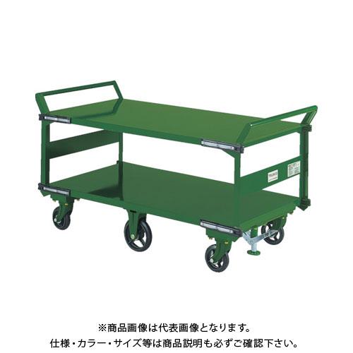 【直送品】TRUSCO 鋼鉄製運搬車 両袖2段型 1400X750 鋳物6輪車 S付 SOHN-1L2WS