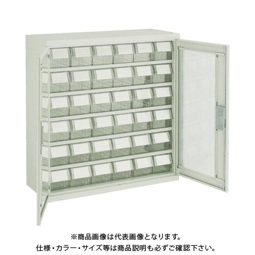 【個別送料1000円】【直送品】 TRUSCO バンラックケース L型 両開き扉 透明引出小X36個 透明 T305L-N36S:TM