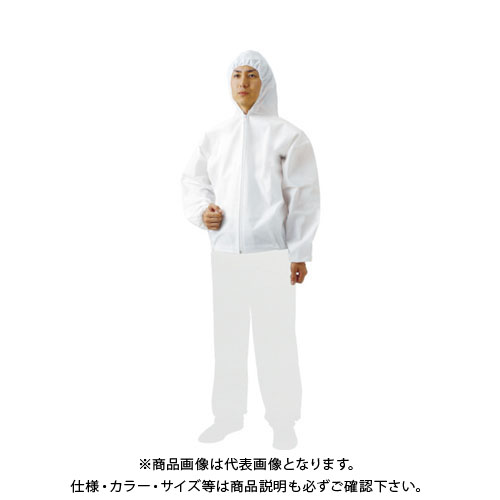 TRUSCO まとめ買い 不織布使い捨て保護服フード付ジャンバー L (60着) TPC-F-L-60
